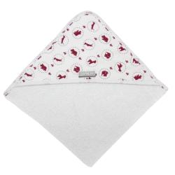 POOGY BEAR Hooded Towel Safari Print Dark Pink