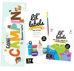 Lil Labels Camp Labels Value Pack - Write On Name Labels Waterproof Labels For Camp Basics And Clothing Includes Gone Campin' Sign And Camp Packing Checklist