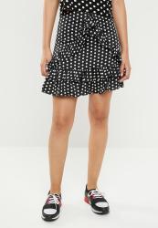 Missguided Polka Dot Frill Skirt - Black