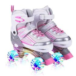 Kuxuan Saya Roller Skates Adjustable For Kids With All Wheels Light Up Fun Illuminating For Girls And Ladies