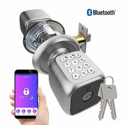 Turbolock TL-111 Pro Smart Door Lock Send Ekeys W app Keypad Door Knob-styled Keyless Entry Digital Security W backup Keys & Emergency Power Port Brush Nickel