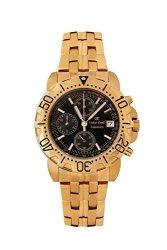 Oskar Emil Gents Caesium 1119G 23K Gold Chronograph Sports Watch With Black Dial