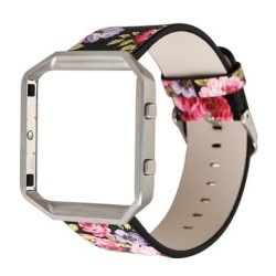 PU Leather Watch Band With Frame For Fitbit Blaze Tracker