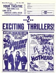 USA The Violent Years Plus Hothead Double Feature Herald