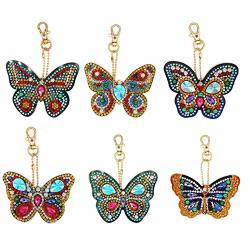 5D Diy Keychain Pendant Kits Special Shaped Full Drill Diamond Painting Kits For Kids And Adult Beautiful Butterfly 6 Pack By Simingd