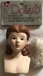 """Mangelsen's Craft Set Of 1 Porcelain Lady Doll Head 3"""" High Pack Size 2-3 8"""" And Pair Of Hands Each 1-3 4"""" Long W Molded Auburn Hair 1993"""