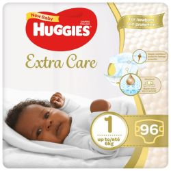 Huggies Extra Care Diapers Size 1 - 96 Nappies