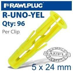 RawlPlug Universal Plug Yellow 5mm X 24mm