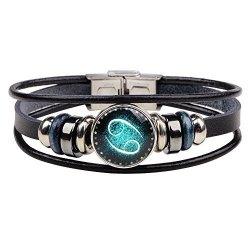CHUYUN Retro 12 Zodiac Constellation Beaded Hand Woven Leather Bracelet Punk Chain Cuff Cancer
