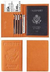 Travelambo Rfid Blocking Genuine Leather Passport Holder Wallet Cover Suede Yellowish Brown