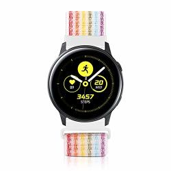 Wniph 20MM Quick Release Watch Band Compatible With Samsung Galaxy galaxy Watch ACTIVE2 Huawei pebble asus ticwatch Smart Watch Nylon Breathable Replacement Sport Strap Rainbow Pinstripes 20MM