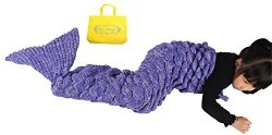 Sun Cling Crochet Mermaid Tail Blanket With Sleeping Bags 56X28 - Purple