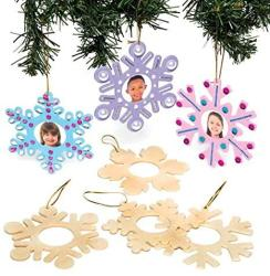 USA Baker Ross Wooden Snowflake Personalised Christmas Decorations Homemade Christmas Crafts For Kids Pack Of 8