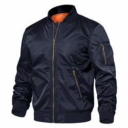 Tacvasen Men's Jackets-classic Winter Warm Thicken Bomber Sportswear Zip Pockets Navy S