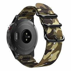 FINTIE Band Compatible With Garmin Fenix 6 5 Soft Woven Nylon Sport Strap Replacement Wristband Compatible With Garmin Fenix 6 Pro sapphire Edition forerunner 935 945 Instinct Watch Camo