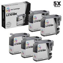 Brother Ld Compatible LC101 LC101BK Set Of 5 Black Ink Cartridges For DCPJ152W MFCJ245 MFCJ285DW MFCJ450DW MFCJ470DW MFCJ475DW MFCJ650DW MFCJ6720DW MFCJ6920DW MFCJ870DW &
