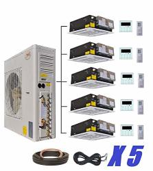 Five Ymgi Zone 5 Zone 60000 Btu 5 X 12000 5 Tons Ceiling Cassette Ductless MINI Split Air Conditioner With Heat Pump For Home
