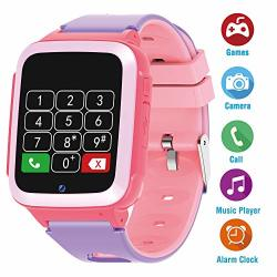 Vowor Kids Games Watch 1.54 Inch Touch Screen Phone Smart Watch With Sos MP3 Two-way Calling Camera Clock Calculator Boys Girls Smartwatches Gift No