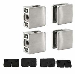 Stainless Steel 316 Grade Square Flat Back Glass Clamp 45 X 45 Mm For 3 8 - 1 4 Tempered Glass Or Laminated Glass Satin Finish 4-PACK GC-045S