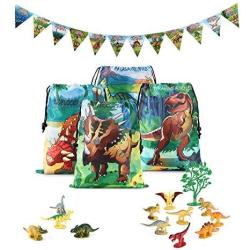 Dinosaur World Party Supplies And Favors Set-dinosaur Goody Bags MINI Toy Dinosaurs And Dino Happy Birthday Banner For Kids Boys