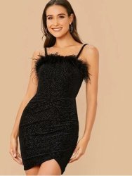 Faux Fur Detail Velvet Cami Bodycon Dress
