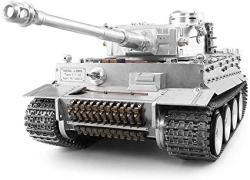 USA Aedwq Rc Remote Control Tank German Tiger I Heavy Metal Tank 2.4GHZ Remote Control 1 16 Scale Model Full Metal Track Simulate Sound action And Smok