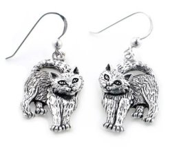 Silver Insanity Whimsical Movable Head Kitty Cat Earrings In Solid Sterling Silver