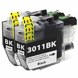 GreenArk LC3011 Ink Cartridges Compatible For Brother LC3011 LC-3011 Lc 3011 Work For Brother MFC-491DW MFC-497DW MFC-690DW MFC-895DW Printers 2 Pack LC3011 Black Ink Cartridge