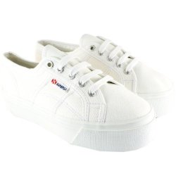 Superga Womens 2790 Canvas Chunky Sole Plimsoll Trainers - White - 5.5