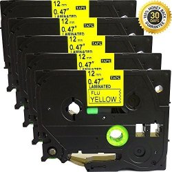 ACD.auto 5PK Great Quality Compatible For BrOther P-touch Laminated Tze Tz Label Tape Cartridge 12MMX8M TZE-C31 Black On Yellow Fluorescent