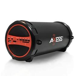 Axess SPBT1031 Portable Bluetooth Indoor outdoor 2.1 Hi-fi Cylinder Loud Speaker With Built-in 3 Sub And Sd Card USB Aux Inputs
