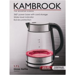 Kambrook Glass Kettle Red 1.7L