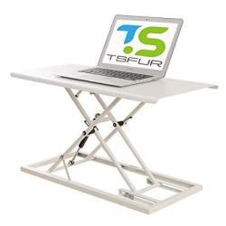 Tsfur Desktop Standing Desk Converter - 0 9 Ultra Thin Metal Computer  Laptop Desk Stand - Portable Office Small Ergonomic Height Adjustable Sit  Stand