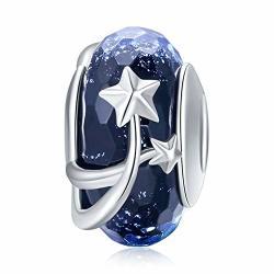 925 Sterling Silver Charm Fit Pandora Charms Bracelet Murano Glass Bead Flower Charm Birthday Gifts Women Jewelry Dark Blue