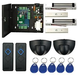 SecureControl Magnetic Lock Network 2 Doors Rfid Access Control Kits Exit Motion Sensor Enroll USB Reader 110V Power Supply Box Key Fobs Phone App Remotely Open Door