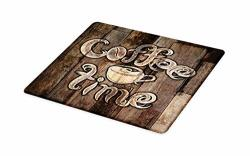Ambesonne Modern Cutting Board Coffee Time Phrase With A Cup On A Wooden Grunge Background Kitchen Image Decorative Tempered Gla
