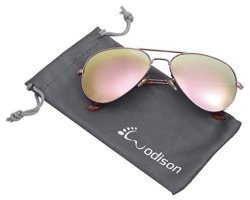 JF Store Wodison Mirrored Aviator Sunglasses Vintage Metal Sunglass For Men women Rose Gold Frame Pink Lens