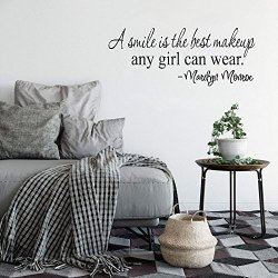 Taviy Wall Stickers Art Decor Vinyl Peel And Stick Mural Removable Decals A Smile Is The Best Makeup Any Girl Can Wear For Girls Room