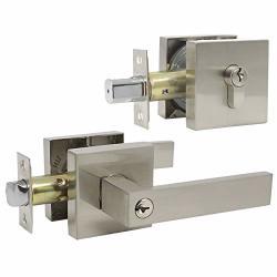 Gobekor 3 Pack Brushed Nickel Entrance Lever Door Handle With Double Cylinder Deadbolt Locksets Keyed Alike Combo Locks With Same Key For Exterior Door Front Door