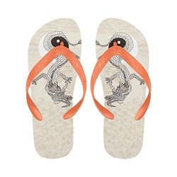 InterestPrint Men Non-slip Flip Flop Slippers Vintage Dragon Yin And Yang Sign Summer Beach Slim Thong Sandal Outdoor Casual Foo