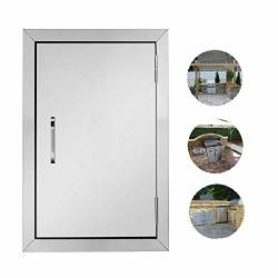 """ROVSUN Outdoor Kitchen Door 14""""W X 20""""H Bbq Access Door 304 Grade Heavy Duty Stainless Steel Single Bbq Island Door Perfect For Outdoor Kitchen"""