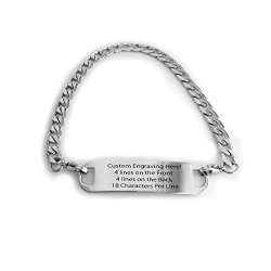Performance Ids Engraved Polished Stainless Silver Traditional Curb Link Alert Id Bracelet For Men Women Adults Elderly 7.0