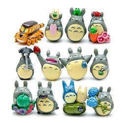 Shdzkj 12 Pcs set My Neighbor Totoro MINI Figure Diy Micro Landscape Garden Resin Decoration