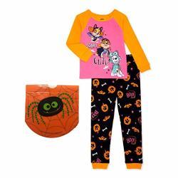 Paw Patrol Baby Toddler Girls Halloween Glow In The Dark Long Sleeve Pajama 2 PC Set & 15 Drawstring Treat Bag 3T