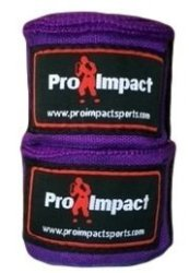 "Pro Impact Boxing mma Handwraps 180"" Mexican Style Elastic 1 Pair Purple Purple"