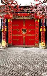 Aofoto 10X16FT Chinese Spring Festival Photography Studio Backdrop China New Year Front Door Decoration Couplet Firecrackers Red Lantern Background Fa