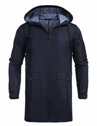 Coofandy Men's Waterproof Hooded Rain Jacket Lightweight Windproof Active Outdoor Long Raincoat Navy Blue