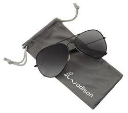 JF Store Wodison Vintage Reflective Mirror Lens Metal Frame Aviator Sunglasses Black Frame Smoke Lens