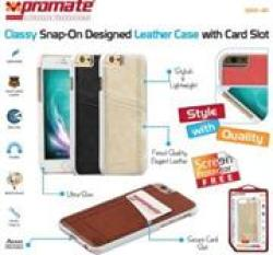 Promate Slit.i6 Classy Snap-On Leather Case with Card Slot for Apple iPhone 6 in Classy Brown