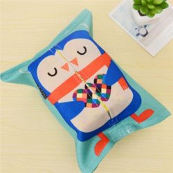Cartoon Animals Cotton Linen Tissue Box Towel Napkin Dispenser Storage Bag Paper Holder Cover Tissue